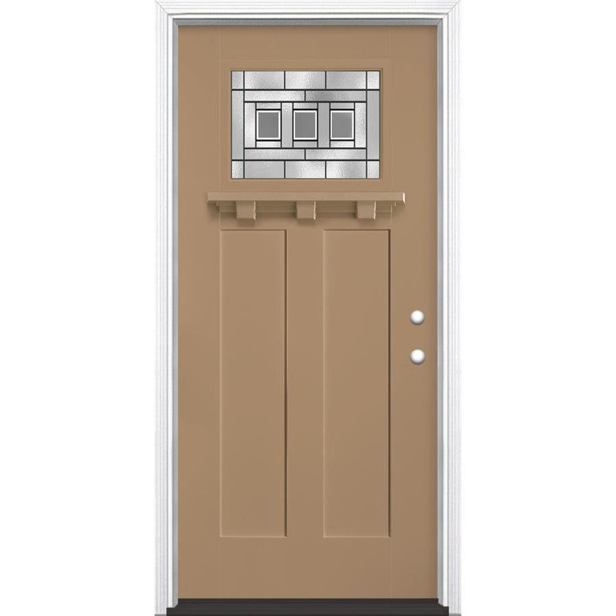 Masonite Craftsman Glass Craftsman Insulating Core Craftsman 1-Lite Left-Hand Inswing Warm Wheat Fiberglass Painted Prehung Entry Door (Common: 36-in x 80-in; Actual: 37.5-in x 81.5-in)