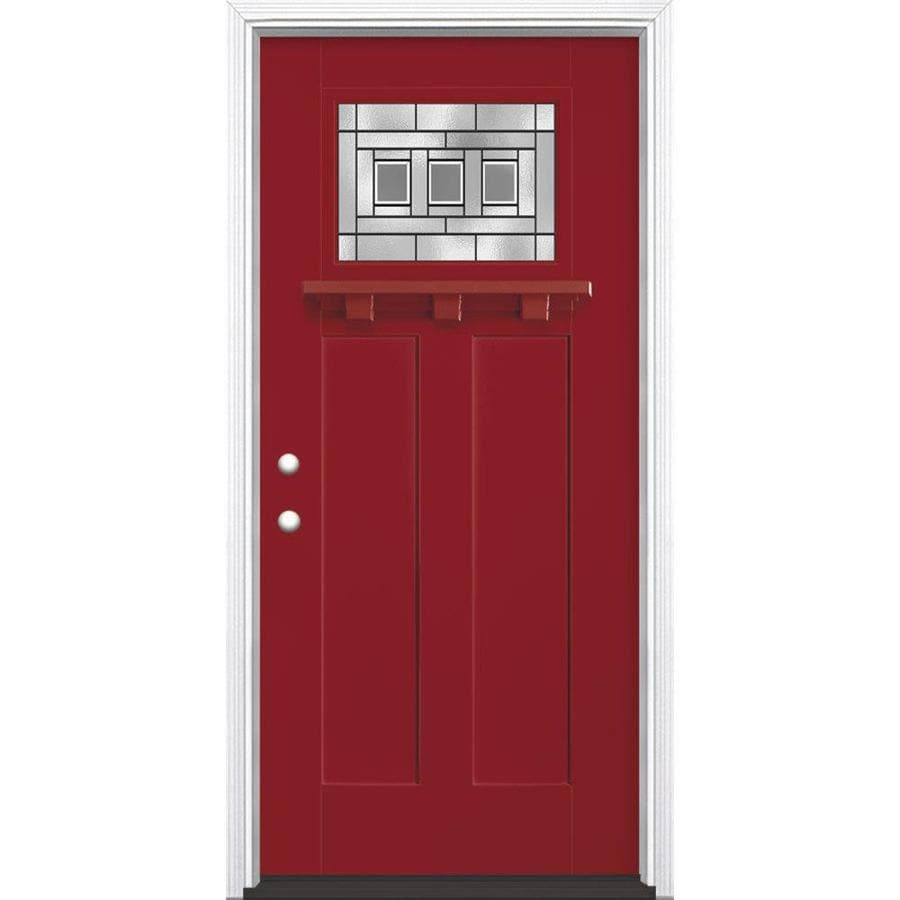 Masonite Craftsman Decorative Gl Right Hand Inswing Roma Red Painted Fibergl Prehung Entry Door With Insulating Core Common 36 In X 80