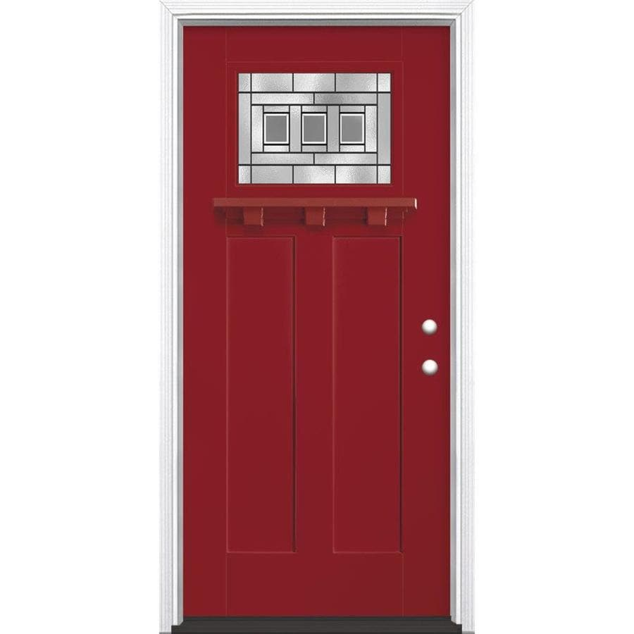 Masonite Craftsman Glass Craftsman Insulating Core Craftsman 1-lite Left-Hand Inswing Roma Red Fiberglass Painted Prehung Entry Door (Common: 36-in x 80-in; Actual: 37.5-in x 81.5-in)