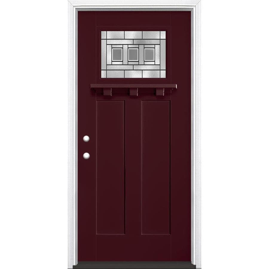 Masonite Craftsman Decorative Glass Right-Hand Inswing Currant Painted Fiberglass Prehung Entry Door with Insulating Core (Common: 36-in x 80-in; Actual: 37.5-in x 81.625-in)