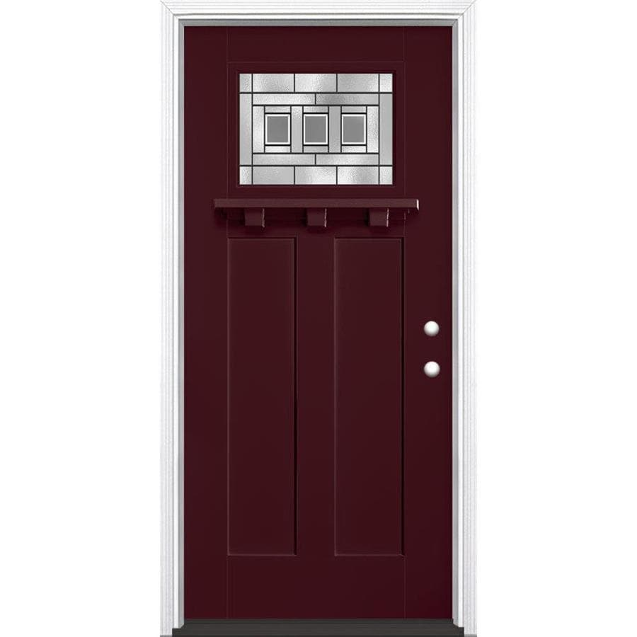 Shop masonite craftsman decorative glass left hand inswing currant painted fiberglass prehung for Lowes fiberglass exterior doors