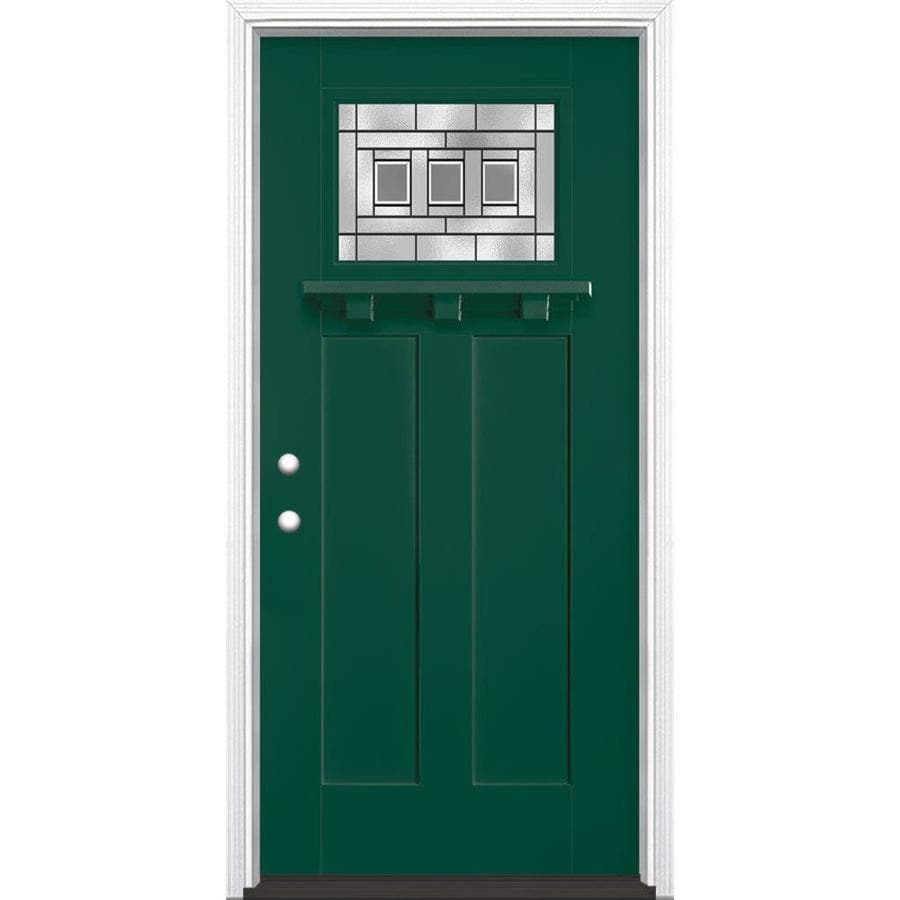 Masonite Craftsman Decorative Glass Right-Hand Inswing Evergreen Painted Fiberglass Prehung Entry Door with Insulating Core (Common: 36-in x 80-in; Actual: 37.5-in x 81.625-in)