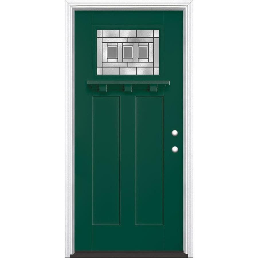 Masonite Craftsman Glass Craftsman Insulating Core Craftsman 1-lite Left-Hand Inswing Evergreen Fiberglass Painted Prehung Entry Door (Common: 36-in x 80-in; Actual: 37.5-in x 81.5-in)