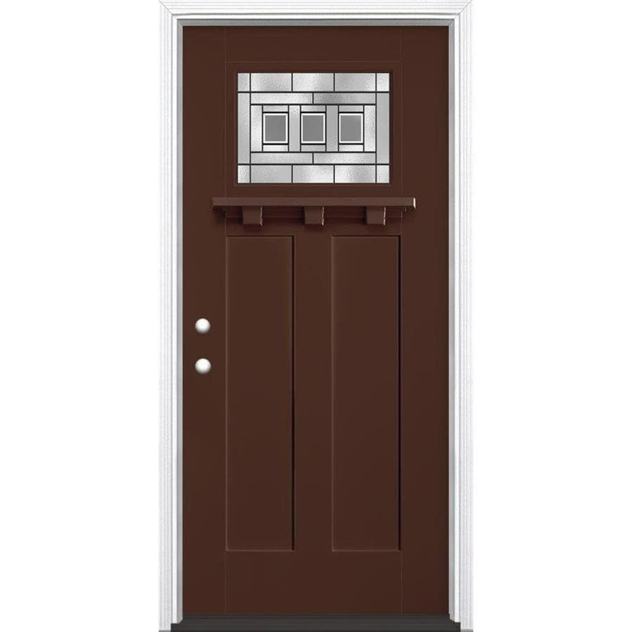 Masonite Craftsman Decorative Glass Right-Hand Inswing Chocolate Painted Fiberglass Prehung Entry Door Insulating Core (Common: 36-in X 80-in; Actual: 37.5-in x 81.625-in)