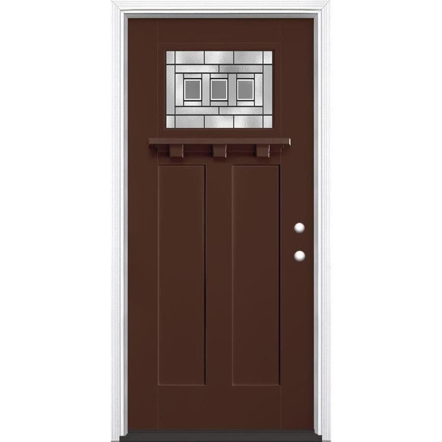 Masonite Craftsman Glass Craftsman Insulating Core Craftsman 1-lite Left-Hand Inswing Chocolate Fiberglass Painted Prehung Entry Door (Common: 36-in x 80-in; Actual: 37.5-in x 81.5-in)