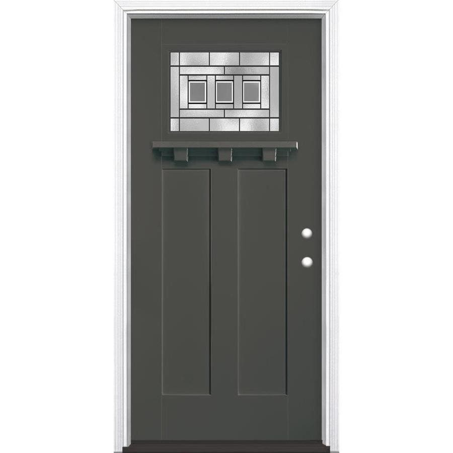 Masonite Craftsman Decorative Glass Left-Hand Inswing Timber Gray Painted Fiberglass Prehung Entry Door with Insulating Core (Common: 36-in x 80-in; Actual: 37.5-in x 81.625-in)