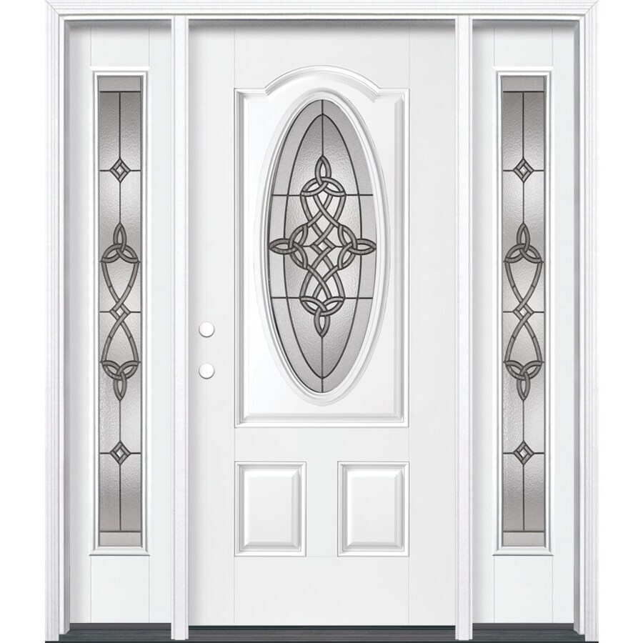 Masonite Dylan 3-panel Insulating Core Oval Lite Right-Hand Inswing Artic White Fiberglass Painted Prehung Entry Door (Common: 36-in x 80-in; Actual: 37.5-in x 81.5-in)