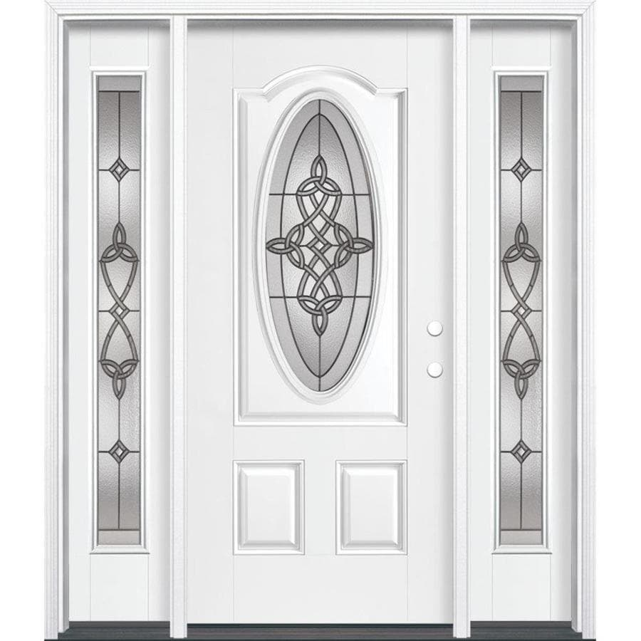 Masonite Dylan Decorative Glass Left-Hand Inswing Arctic White Painted Fiberglass Prehung Entry Door with Insulating Core (Common: 64-in x 80-in; Actual: 37.5-in x 81.625-in)