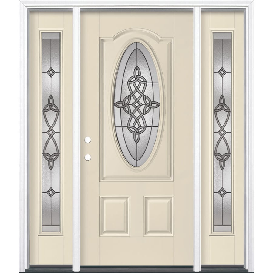 Masonite Dylan 3-panel Insulating Core Oval Lite Right-Hand Inswing Bisque Fiberglass Painted Prehung Entry Door (Common: 36-in x 80-in; Actual: 37.5-in x 81.5-in)