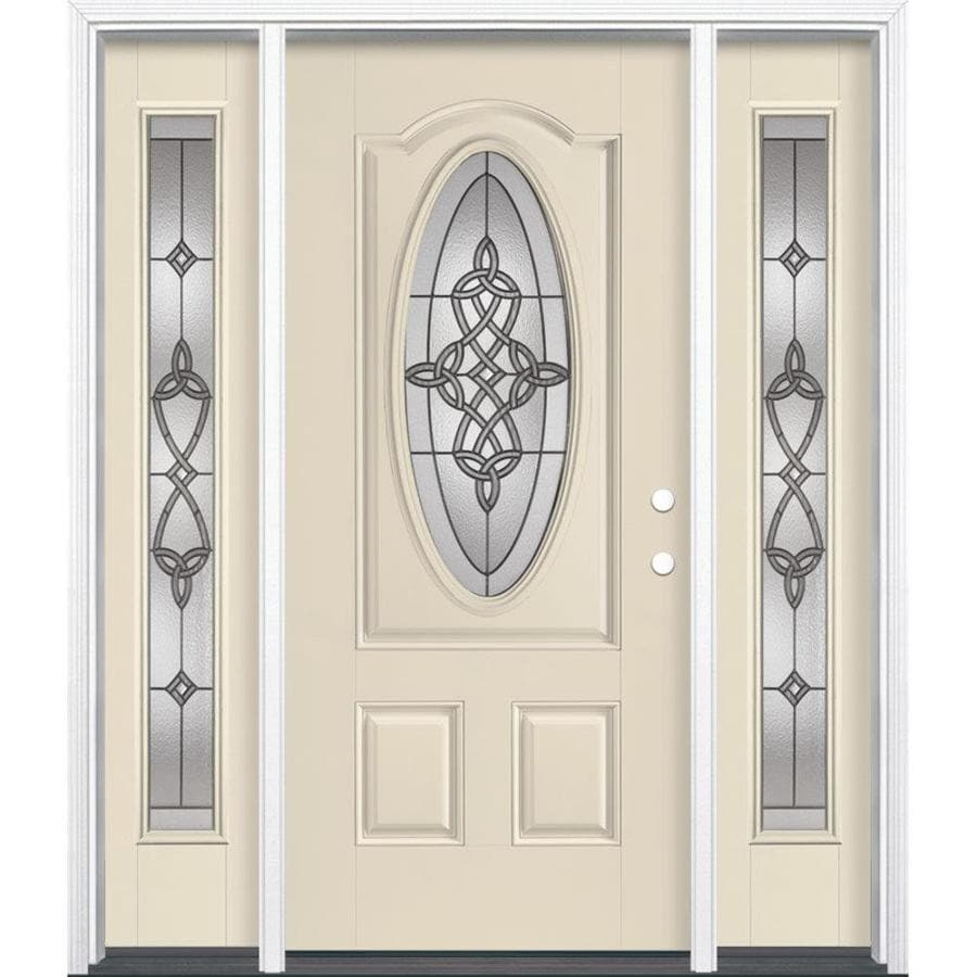 Masonite Dylan 3-Panel Insulating Core Oval Lite Left-Hand Inswing Bisque Fiberglass Painted Prehung Entry Door (Common: 36-in x 80-in; Actual: 37.5-in x 81.5-in)