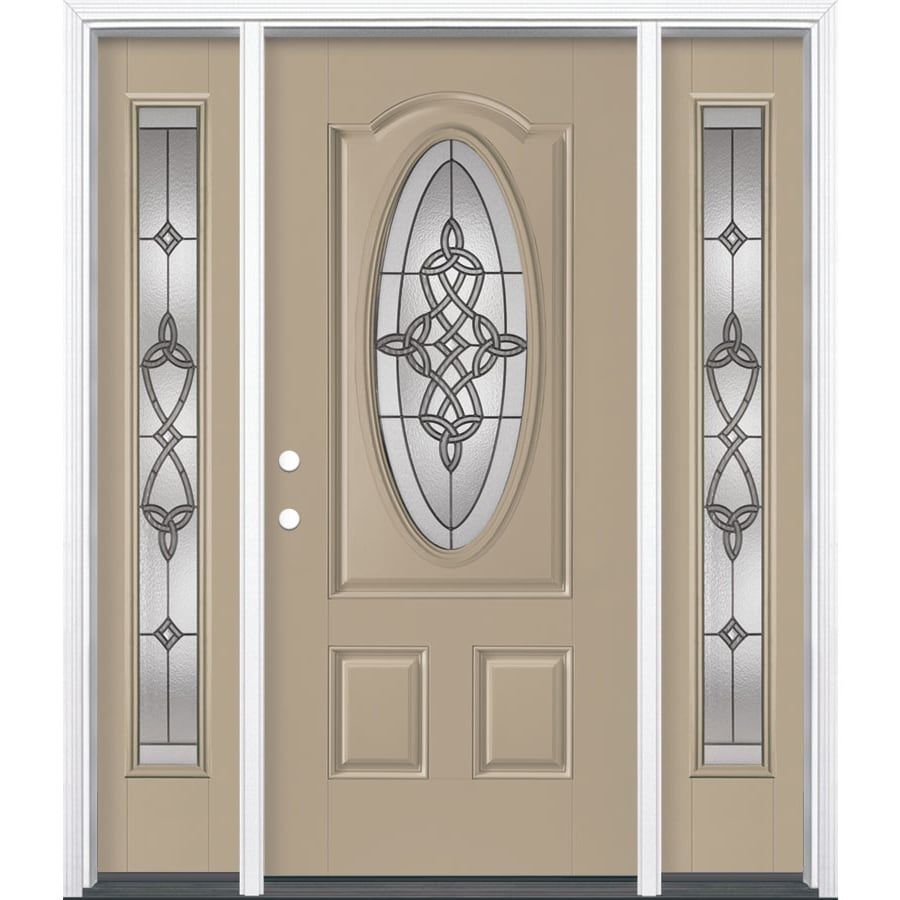 Masonite Dylan 3-panel Insulating Core Oval Lite Right-Hand Inswing Sandy Shore Fiberglass Painted Prehung Entry Door (Common: 36-in x 80-in; Actual: 37.5-in x 81.5-in)