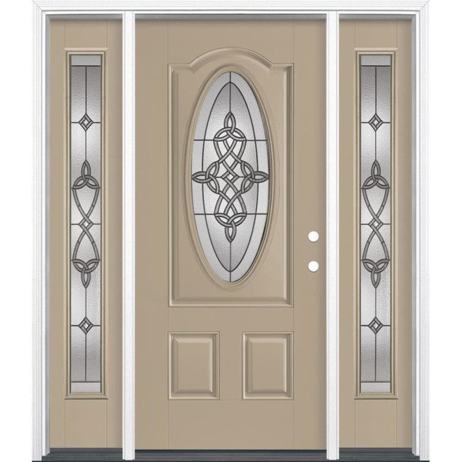 Masonite Dylan Left-Hand Inswing Sandy Shore Painted Fiberglass Prehung Entry Door with Sidelights and Insulating Core (Common: 36-in x 80-in; Actual: 37.5-in x 81.5-in)