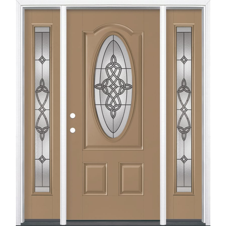 Masonite Dylan 3-panel Insulating Core Oval Lite Right-Hand Inswing Warm Wheat Fiberglass Painted Prehung Entry Door (Common: 36-in x 80-in; Actual: 37.5-in x 81.5-in)