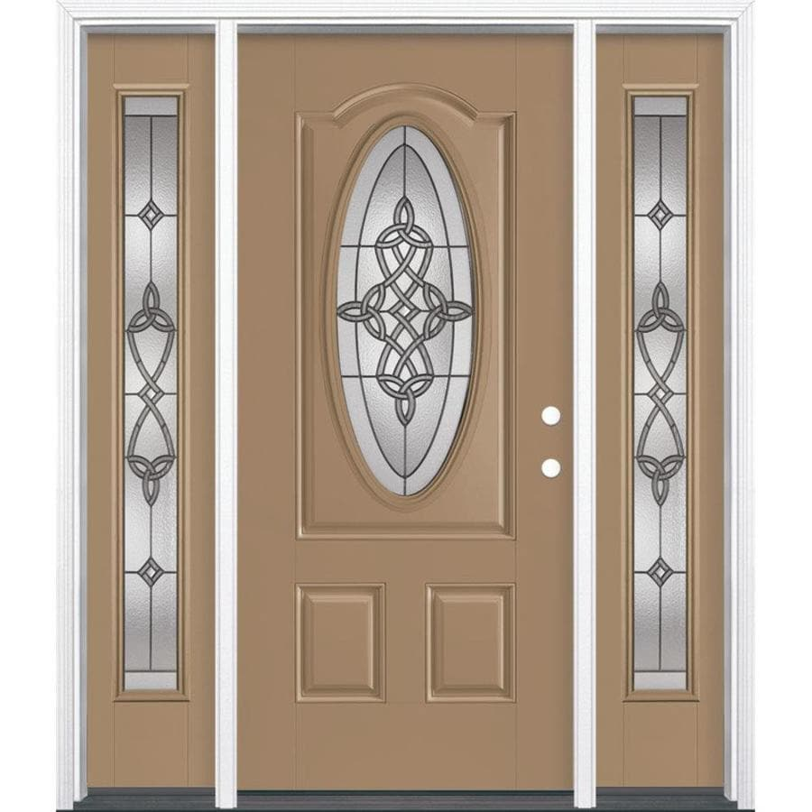 Masonite Dylan Decorative Glass Left-Hand Inswing Warm Wheat Painted Fiberglass Prehung Entry Door with Insulating Core (Common: 64-in x 80-in; Actual: 37.5-in x 81.625-in)