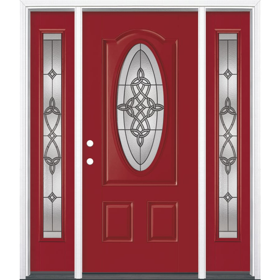 Masonite Dylan 3-panel Insulating Core Oval Lite Right-Hand Inswing Roma Red Fiberglass Painted Prehung Entry Door (Common: 36-in x 80-in; Actual: 37.5-in x 81.5-in)