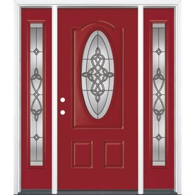 Merveilleux Masonite Dylan Oval Lite Decorative Glass Painted Fiberglass Prehung Entry  Door With Insulating Core (Common