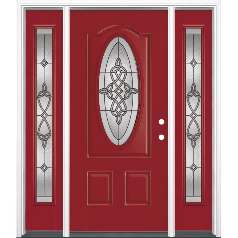 Masonite Dylan Oval Lite Decorative Glass Left-Hand Inswing Roma Red Painted Fiberglass Prehung Entry Door with Sidelights and Insulating Core (Common: 64-in X 80-in; Actual: 37.5-in x 81.625-in)