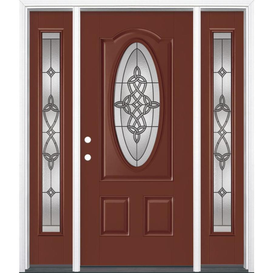 Masonite Dylan 3-panel Insulating Core Oval Lite Right-Hand Inswing Fox Tail Fiberglass Painted Prehung Entry Door (Common: 36-in x 80-in; Actual: 37.5-in x 81.5-in)