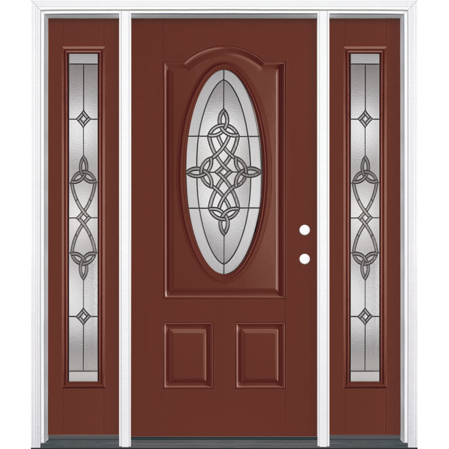 Masonite Dylan Decorative Glass Left-Hand Inswing Fox Tail Painted Fiberglass Prehung Entry Door with Insulating Core (Common: 64-in x 80-in; Actual: 37.5-in x 81.625-in)