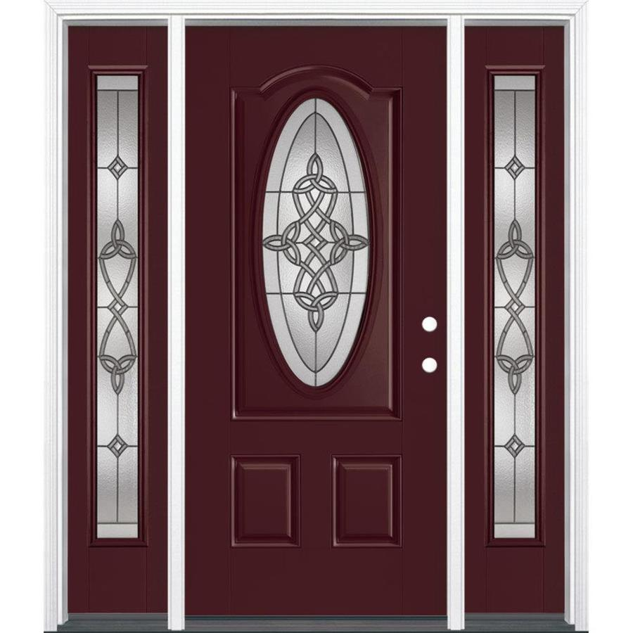masonite dylan 3panel insulating core oval lite fiberglass painted prehung entry door common front doors l