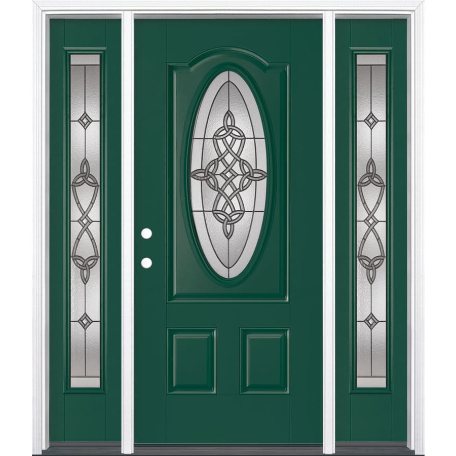 Masonite Dylan Decorative Glass Right-Hand Inswing Evergreen Painted Fiberglass Prehung Entry Door with Insulating Core (Common: 64-in X 80-in; Actual: 37.5-in x 81.625-in)