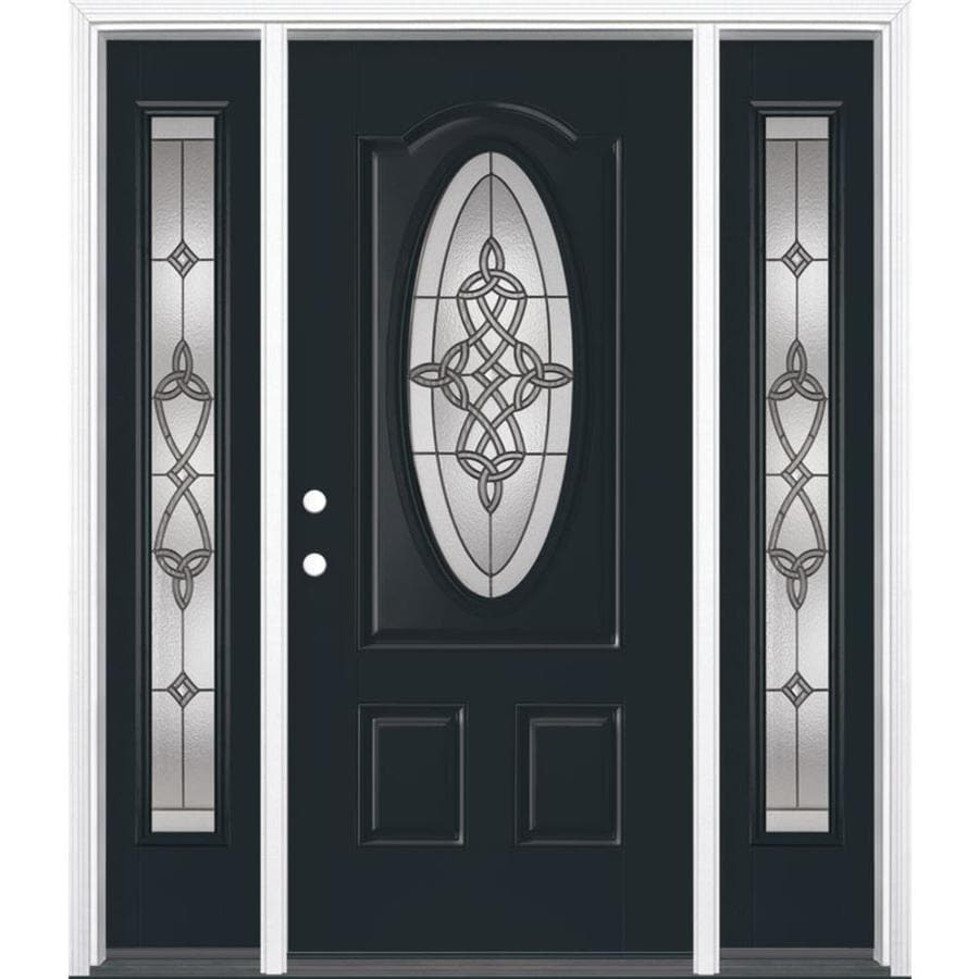 Masonite Dylan Decorative Glass Right-Hand Inswing Eclipse Painted Fiberglass Prehung Entry Door with Insulating Core (Common: 64-in x 80-in; Actual: 37.5-in x 81.625-in)