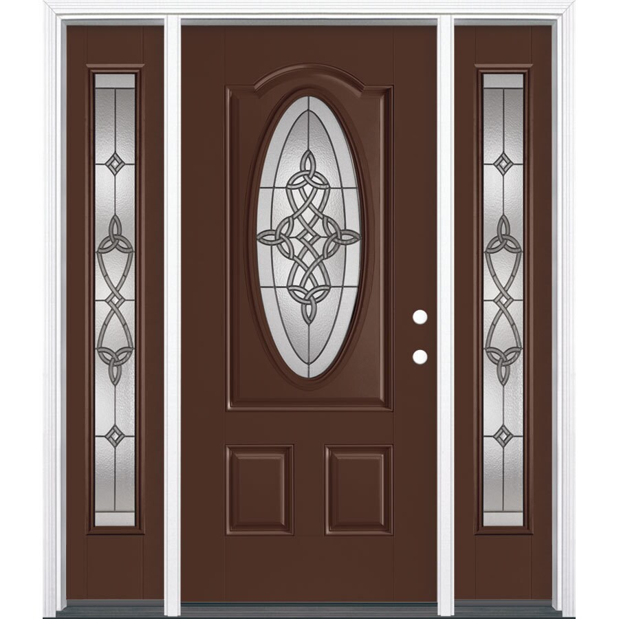 Masonite Dylan 3-Panel Insulating Core Oval Lite Left-Hand Inswing Chocolate Fiberglass Painted Prehung Entry Door (Common: 36-in x 80-in; Actual: 37.5-in x 81.5-in)