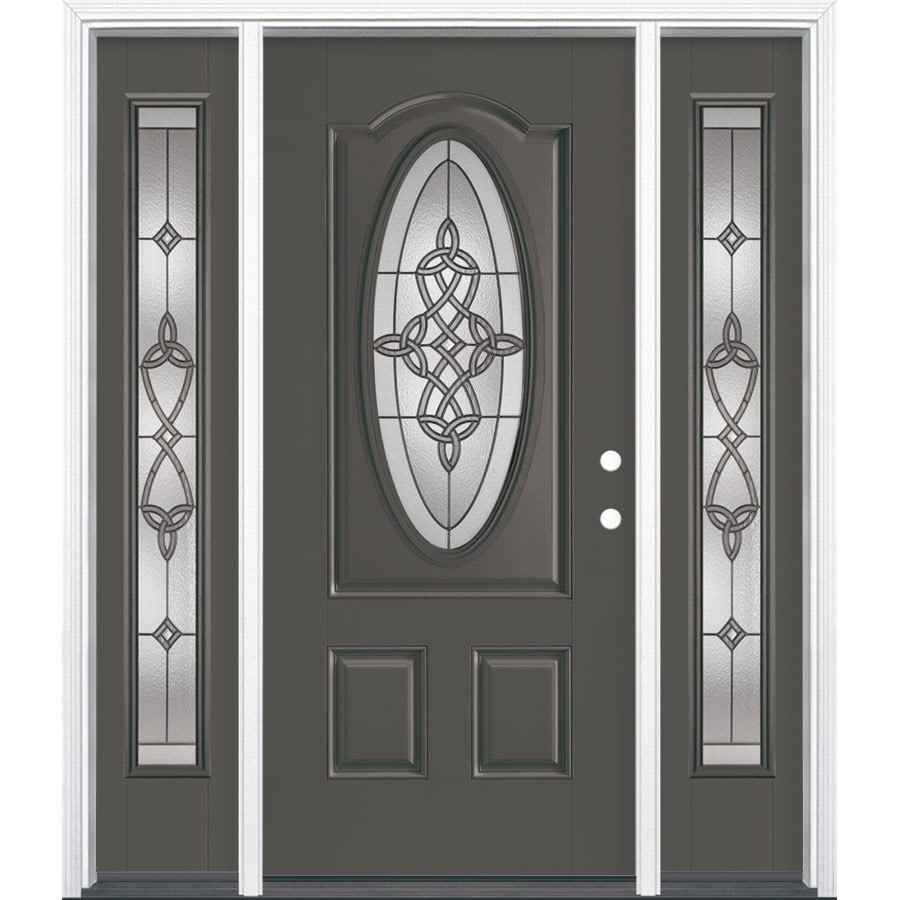 Masonite Dylan Decorative Glass Left-Hand Inswing Timber Gray Painted Fiberglass Prehung Entry Door with Insulating Core (Common: 64-in x 80-in; Actual: 37.5-in x 81.625-in)