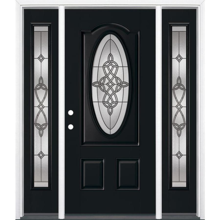 Masonite Dylan Decorative Glass Right-Hand Inswing Peppercorn Painted Fiberglass Prehung Entry Door with Insulating Core (Common: 64-in x 80-in; Actual: 37.5-in x 81.625-in)