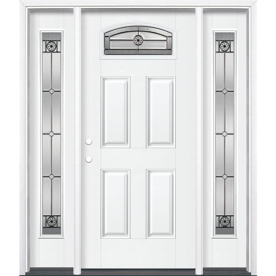 Masonite Decorative Glass Right-Hand Inswing Artic White Fiberglass Painted Entry Door (Common: 36-in x 80-in; Actual: 37.5-in x 81.5-in)
