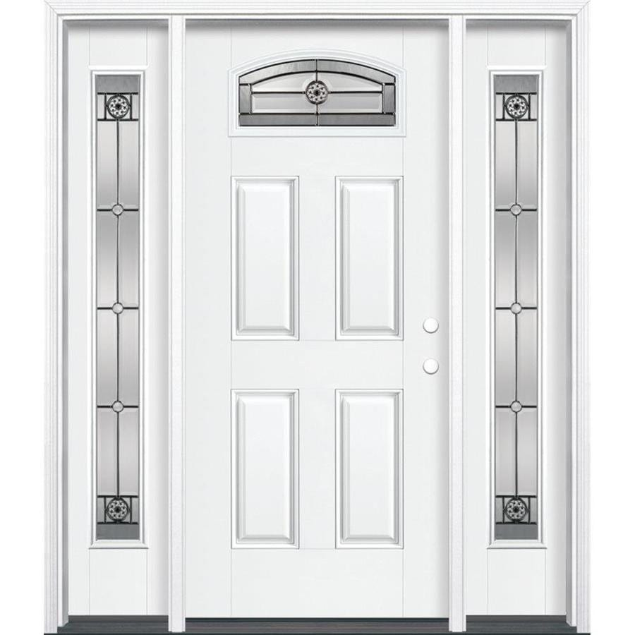 Masonite Decorative Glass Left-Hand Inswing Arctic White Painted Fiberglass Prehung Entry Door with Insulating Core (Common: 64-in x 80-in; Actual: 37.5-in x 81.625-in)