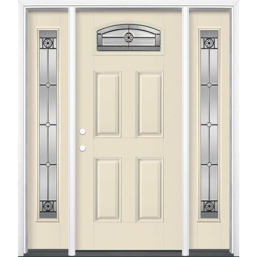 Masonite Decorative Glass Right-Hand Inswing Bisque Fiberglass Painted Entry Door (Common: 36-in x 80-in; Actual: 37.5-in x 81.5-in)