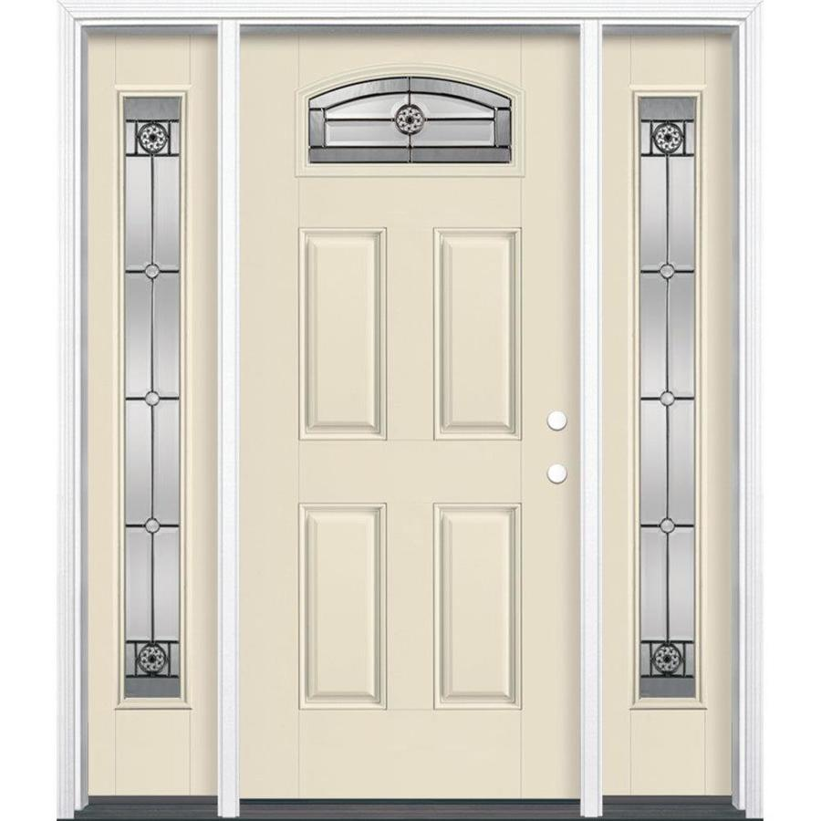 Masonite Decorative Glass Left-Hand Inswing Bisque Painted Fiberglass Prehung Entry Door with Insulating Core (Common: 64-in x 80-in; Actual: 37.5-in x 81.625-in)