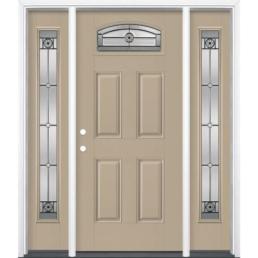 Masonite 4-panel Insulating Core Morelight Right-Hand Inswing Sandy Shore Fiberglass Painted Prehung Entry Door (Common: 36-in x 80-in; Actual: 37.5-in x 81.5-in)