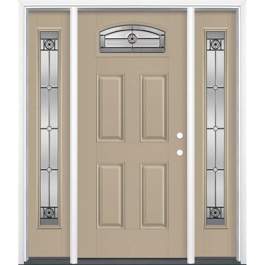 Masonite Elan 4-Panel Insulating Core Morelight Left-Hand Inswing Sandy Shore Fiberglass Painted Prehung Entry Door (Common: 36-in x 80-in; Actual: 37.5-in x 81.5-in)