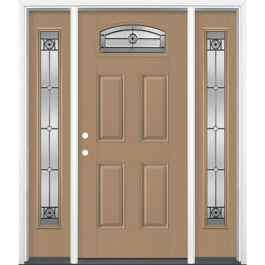 Masonite Decorative Glass Right-Hand Inswing Warm Wheat Painted Fiberglass Prehung Entry Door with Insulating Core (Common: 64-in X 80-in; Actual: 37.5-in x 81.625-in)