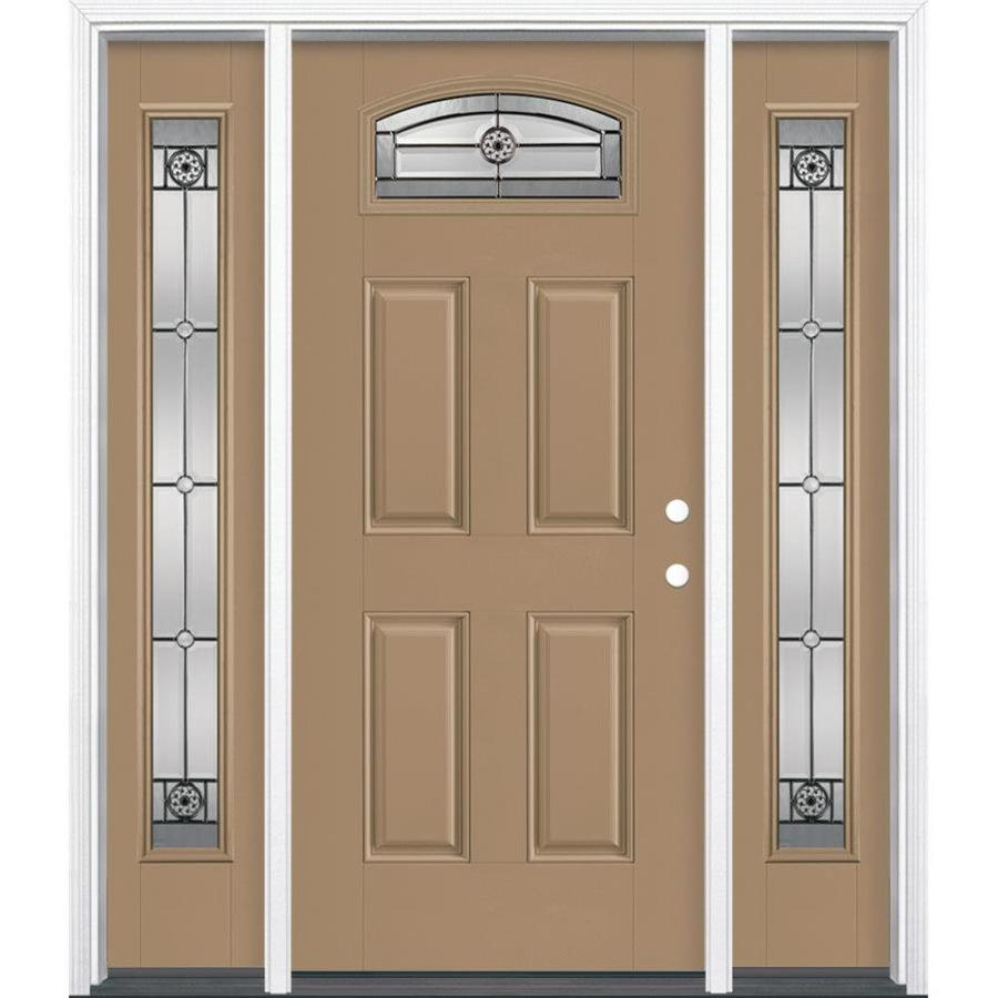 Masonite 4-panel Insulating Core Morelight Left-Hand Inswing Warm Wheat Fiberglass Painted Prehung Entry Door (Common: 36-in x 80-in; Actual: 37.5-in x 81.5-in)