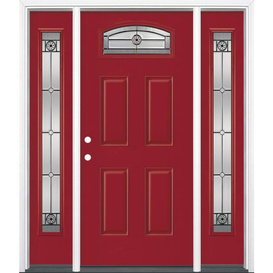 Masonite Decorative Glass Right-Hand Inswing Roma Red Painted Fiberglass Prehung Entry Door with Insulating Core (Common: 64-in X 80-in; Actual: 37.5-in x 81.625-in)