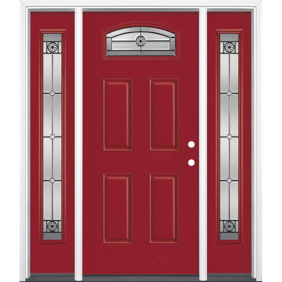 Shop Masonite Decorative Glass Left Hand Inswing Roma Red Painted Fiberglass Prehung Entry Door