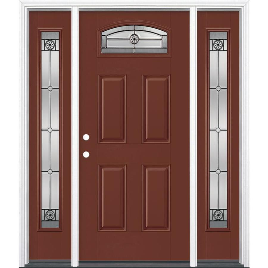 Masonite 4-Panel Insulating Core Morelight Right-Hand Inswing Fox Tail Fiberglass Painted Prehung Entry Door (Common: 36-in x 80-in; Actual: 37.5-in x 81.5-in)