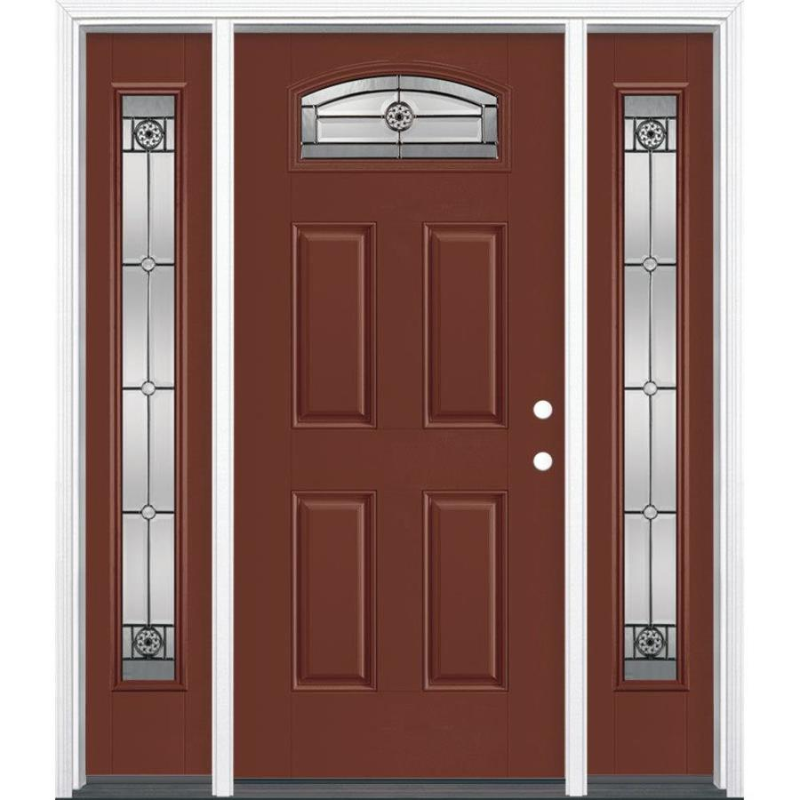 Masonite 4-Panel Insulating Core Morelight Left-Hand Inswing Fox Tail Fiberglass Painted Prehung Entry Door (Common: 36-in x 80-in; Actual: 37.5-in x 81.5-in)