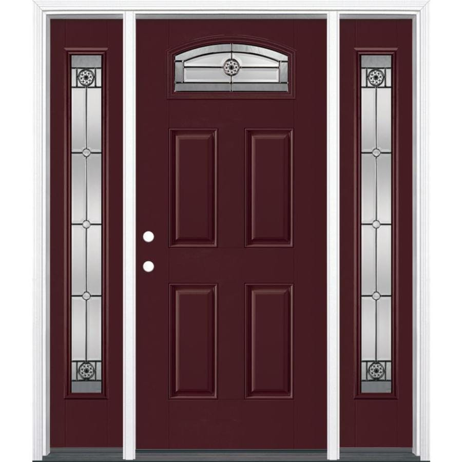 Masonite Elan Right Hand Inswing Currant Painted Fiberglass Prehung Entry  Door With Sidelights And Insulating