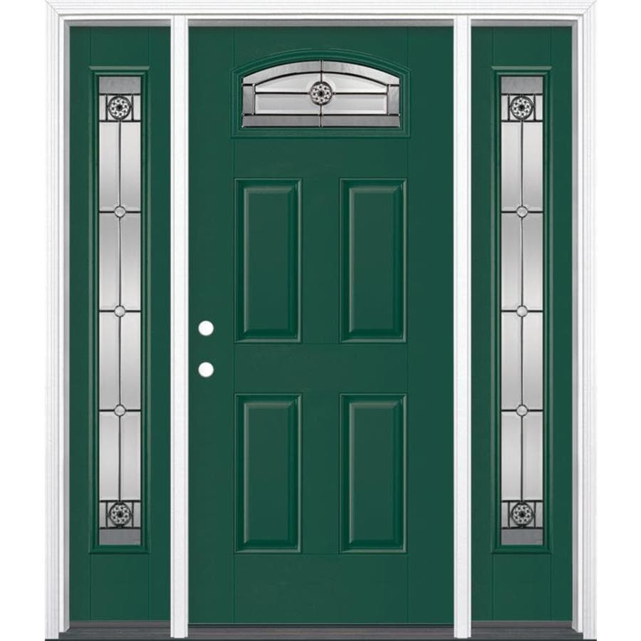 Masonite 4-panel Insulating Core Morelight Right-Hand Inswing Evergreen Fiberglass Painted Prehung Entry Door (Common: 36-in x 80-in; Actual: 37.5-in x 81.5-in)