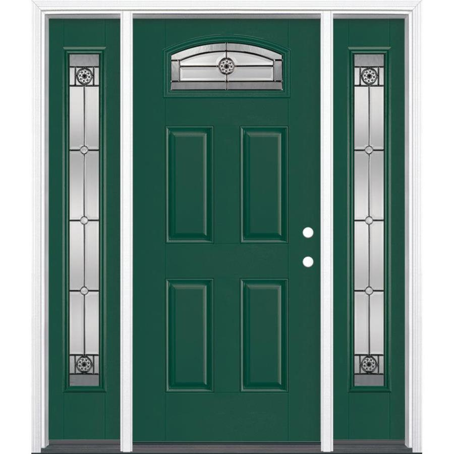 Masonite Decorative Glass Left-Hand Inswing Evergreen Painted Fiberglass Prehung Entry Door with Insulating Core (Common: 64-in x 80-in; Actual: 37.5-in x 81.625-in)