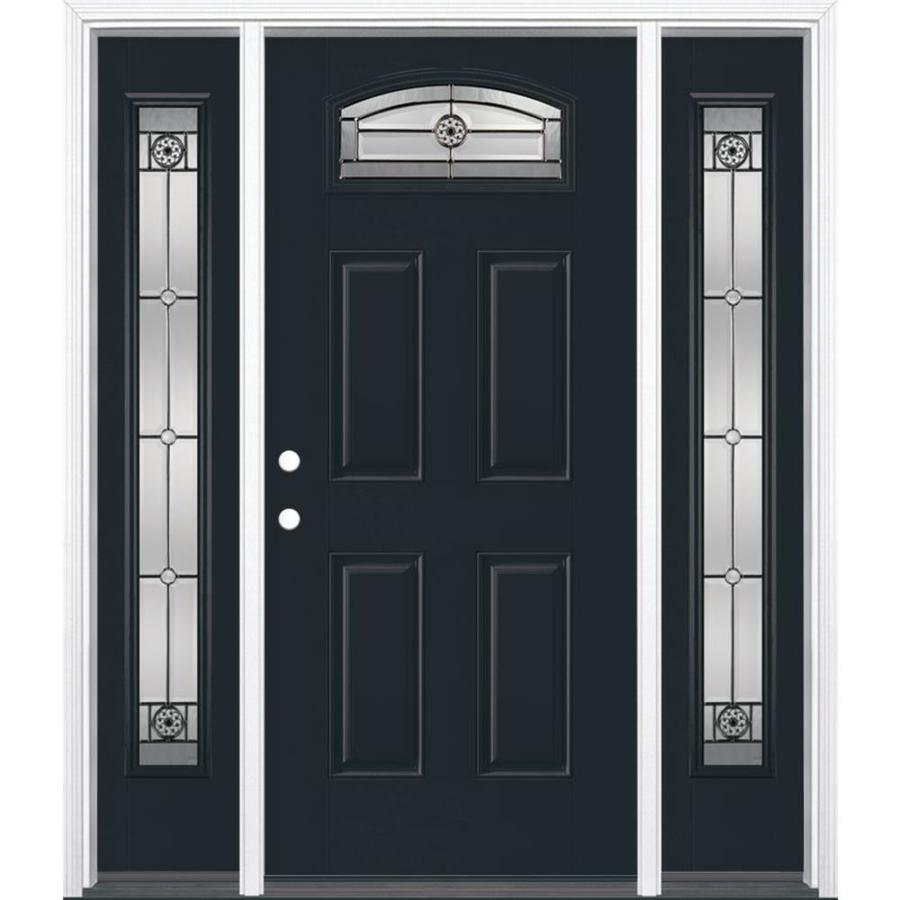 Masonite Decorative Glass Right-Hand Inswing Eclipse Painted Fiberglass Prehung Entry Door with Insulating Core (Common: 64-in X 80-in; Actual: 37.5-in x 81.625-in)