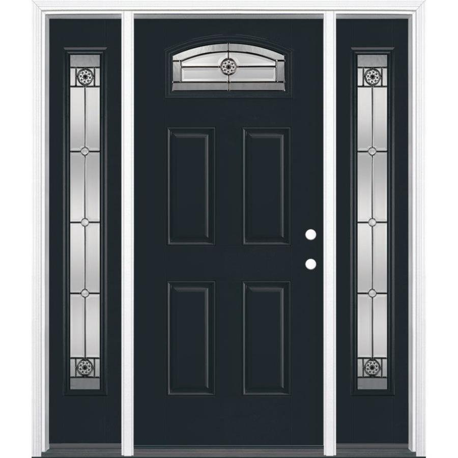Masonite Decorative Glass Left-Hand Inswing Eclipse Painted Fiberglass Prehung Entry Door with Insulating Core (Common: 64-in x 80-in; Actual: 37.5-in x 81.625-in)