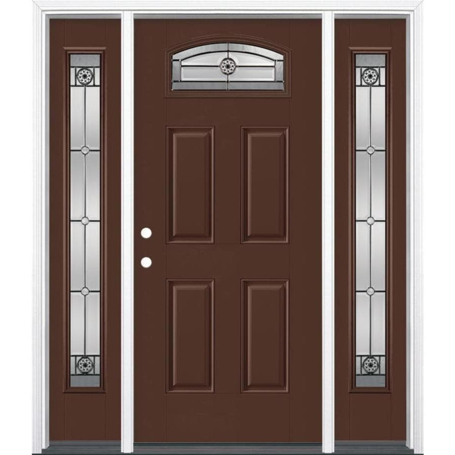 Masonite 4-panel Insulating Core Morelight Right-Hand Inswing Chocolate Fiberglass Painted Prehung Entry Door (Common: 36-in x 80-in; Actual: 37.5-in x 81.5-in)