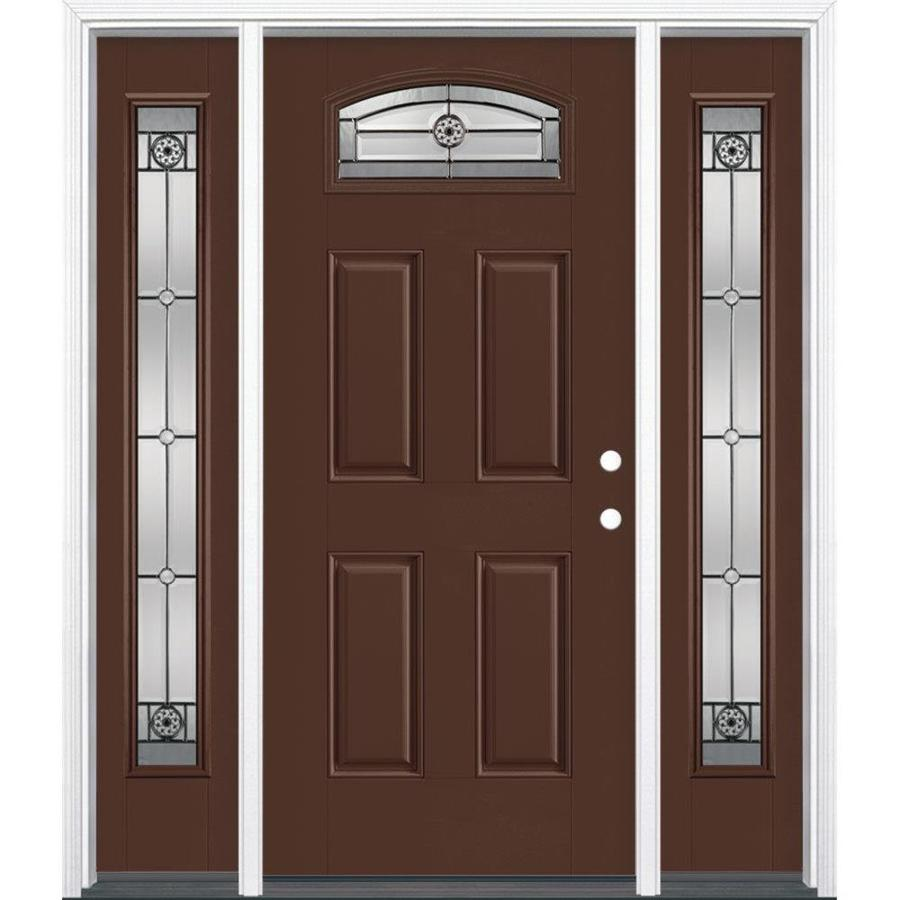 Masonite Decorative Glass Left-Hand Inswing Chocolate Painted Fiberglass Prehung Entry Door with Insulating Core (Common: 64-in x 80-in; Actual: 37.5-in x 81.625-in)