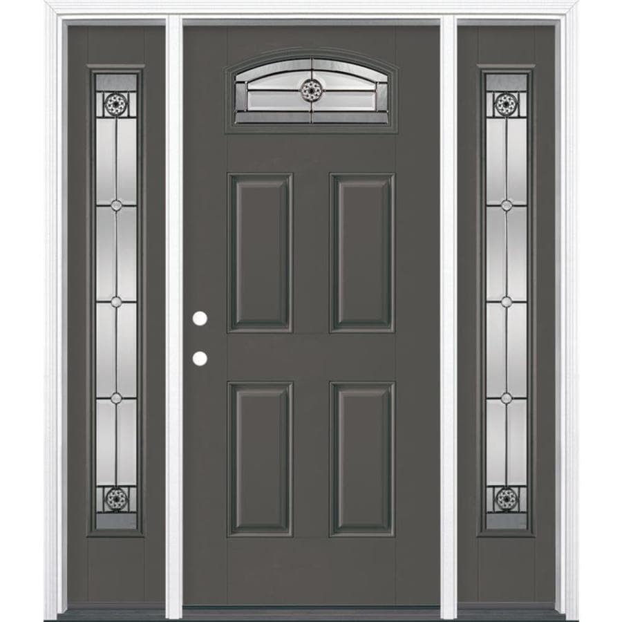 Masonite 4-panel Insulating Core Morelight Right-Hand Inswing Timber Gray Fiberglass Painted Prehung Entry Door (Common: 36-in x 80-in; Actual: 37.5-in x 81.5-in)