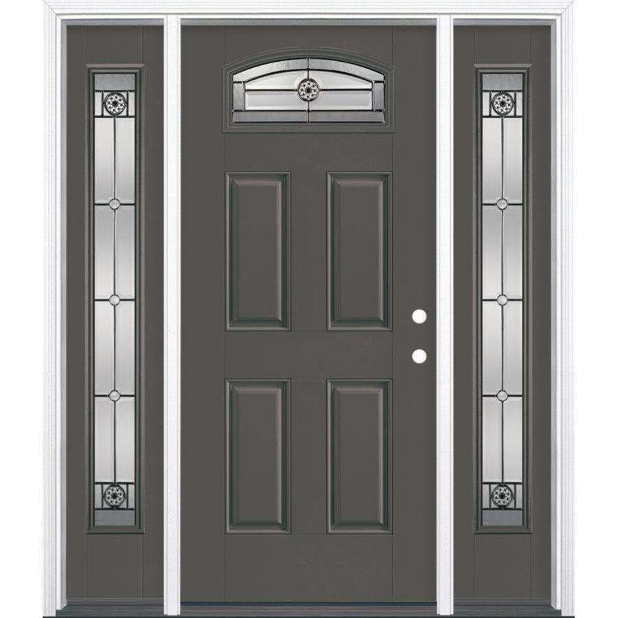 Masonite Elan 1/4 Lite Decorative Glass Left-Hand Inswing Timber Gray Painted Fiberglass Prehung Entry Door Insulating Core (Common: 64-in X 80-in; Actual: 37.5-in x 81.625-in)